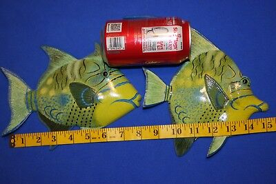 (2) Colorful Ocean Fish Wall Hangings Seafood Restaurant Decor, 8 inches,134 239
