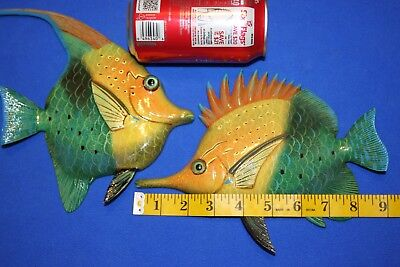 (2) Colorful Ocean Fish Wall Hangings Seafood Restaurant Decor, 8 inches,127 247