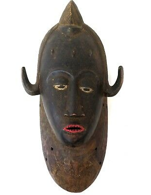 AFRICAN MASK carved wood BAULE TRIBAL -  ANTIQUE RARE - 1 OF A KIND
