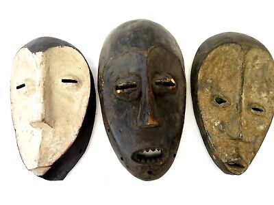 AFRICAN MASKS carved wood FANG TRIBE -  ANTIQUE - LOT OF 3