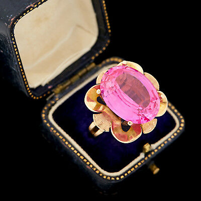 Antique Vintage Art Deco Retro 14k Gold Fancy Cut Pink Topaz HUGE Ring Sz 8.75