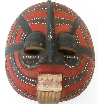 AFRICAN MASK carved wood CONGO TRIBAL-  ANTIQUE -  1 OF A KIND - LARGE