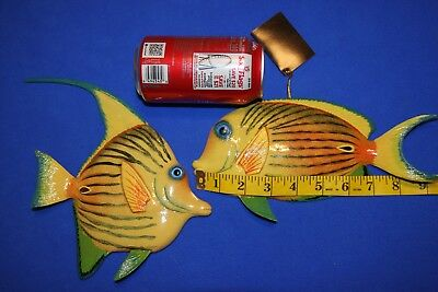 (2) Colorful Reef Fish Wall Hangings Seafood Restaurant Decor, 8 inches,123 245