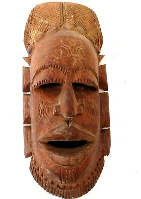 AFRICAN MASK carved wood NEW GUINEA TRIBAL-   1 OF A KIND - LARGE