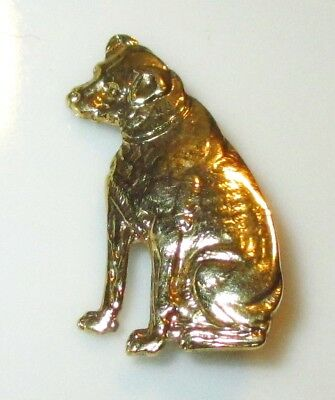 Vintage Nipper Dog Advertising Gold Gilt Costume Jewelry Pin Brooch From Rca