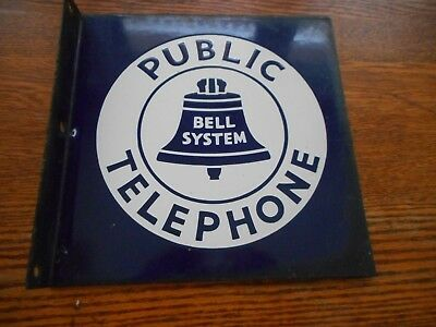 Vintage Bell System 2 Sided Flange Public Phone Porcelain Sign 50 Years Old V.g.