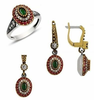 turkish 925 sterling silver ruby emerald FULL ladies womans set ALL SİZE us