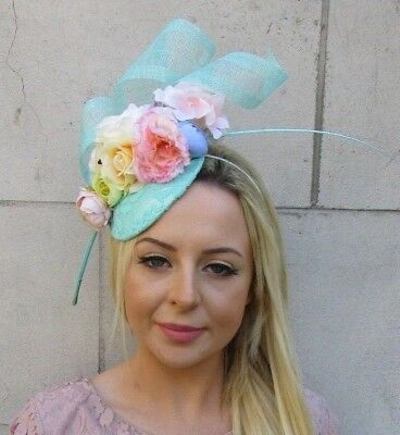 Mint Green Yellow Blush Pink Cream Blue Flower Feather Hat Hair Fascinator 5968