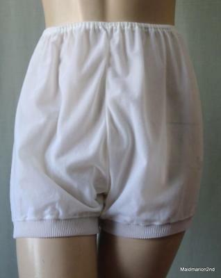 KEYNOTE VINTAGE STYLE SILKY SOFT WHITE NYLON FULL BUBBLE PANTIES KNICKERS Med