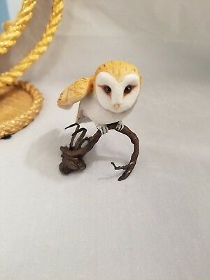 Vintage Signed Boehm Porcelain Usa  Owl On Bronze Stand Collectible
