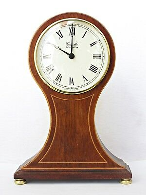 "Quality Comitti Balloon Mantel Clock, Inlaid Wooden Case, Working Well , 10"" H"