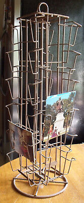 Vintage Mid Century Spinning Wire Counter Top Postcard Display Rack   Atlas Wire