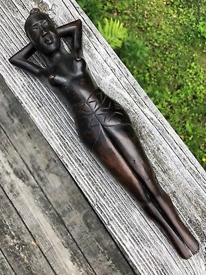 """Vintage Hand Carved Wooden Nutcracker of Naked Woman~13"""" tall~Nice Condition!"""