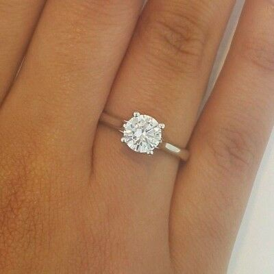 1 CT Round Cut Diamond Solitaire Engagement Wedding Ring 14k Solid White Gold