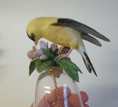Vintage GOLDFINCH BIRD on BELL FIGURINE Porcelain Finch Clear Glass JAPAN