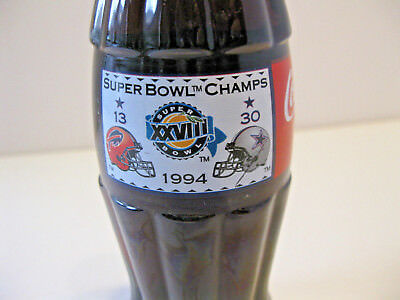 Vintage Collectible 1994 Super Bowl Coca Cola Bottle (Full) Bills vs Cowboys