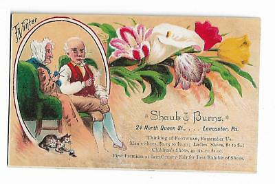 Old Trade Card Shaub & Burns Shoes Lancaster PA Old Couple Winter County Fair