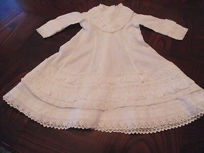 Charming vintage baby gown, Christening dress, white with awesome border