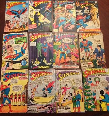 Superman Huge Silver Early Bronze Age Lot of 12 DC Comics-low Grade