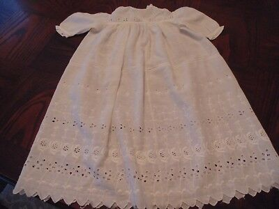 vintage baby dress or Christening gown, white eyelet lace