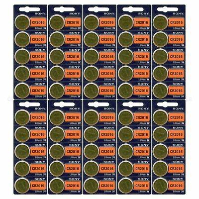 **FRESH NEW** 50 x SONY CR2016 Lithium Battery 3V Exp 2025 Pack 50 pcs Coin Cell