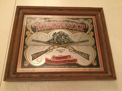 "Vintage WINCHESTER ""THE GUN THAT WON THE WEST"" Framed Advertising Mirror 24""X20"""