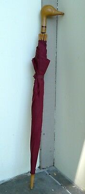 "Umbrella by Aramis Mens Duck Head Handle Burgundy Limited Edition RARE 36"" Long"