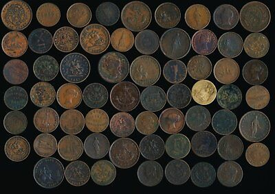 65 Old Canada Coppers Tokens & A Few Penny And Half Penny >Nice Lot >No Rsrv