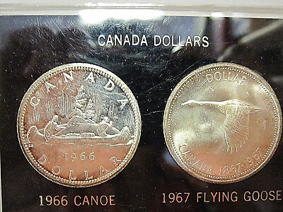 CANADA 1966 and 1967 UNCIRCULATED SILVER DOLLAR SET IN PLASTIC CASE!!