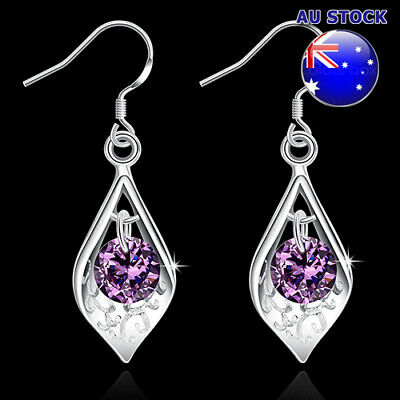 Wholesale 925 Sterling Silver Filled Purple Cubic Zirconia Crystal Leaf Dangly