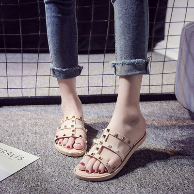 d977ef7cc150c WOMENS LADIES FLAT Studded Sandals Summer Strappy Embellished Rock Slippers  Shoe -  8.38
