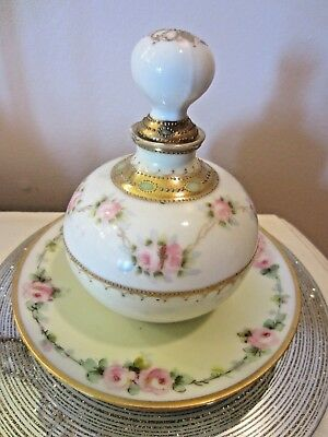 Antique/Vintage Noritake Nippon Perfume Bottle bavaria plate hand painted roses