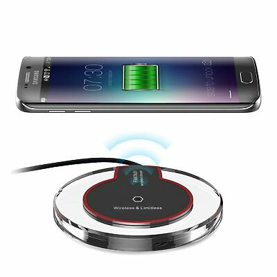 Slim Clear Qi Wireless Charger Pad Fast Charging Dock For Smartphone Cellphone