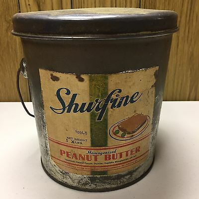 Vintage Shurfine Peanut Butter 5 Lb Advertising Tin  Bucket w/ Handle ORIGINAL!!