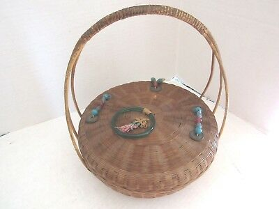 Antique Chinese Sewing Basket One Handle with Ornamentation