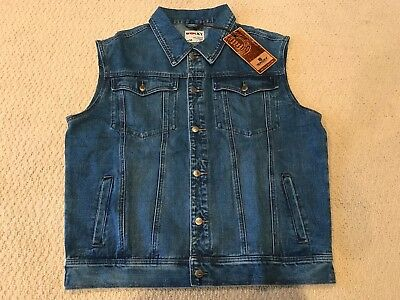 NWT Men's Wacky Jeans Wear Medium Blue Classic Denim Jean Vest ALL BIG SIZES