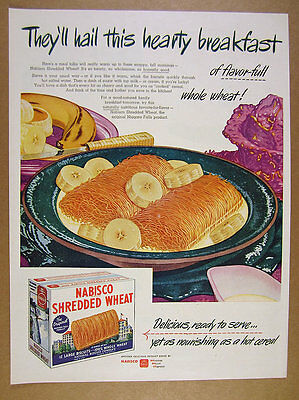 1945 Nabisco Shredded Wheat cereal bowl box illustration art vintage print Ad