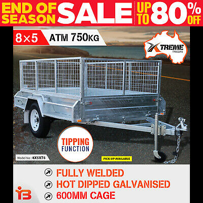8x5 Full Welded Galvanised Box Trailer with 600mm Cage