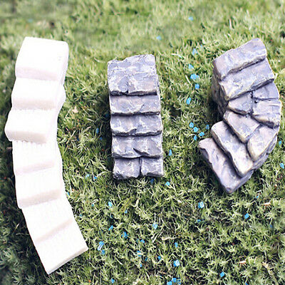 Resin Crafts Fairy Garden Yard Mini Steps Lawn Decor Stone Ladder Gnome Gift MD