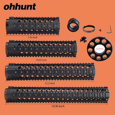 """Ohhunt 7"""" 10"""" 12"""" 15"""" Free Float Quad Rail Handguard with .750 Front End Cap"""