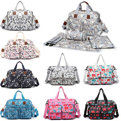 Birds Flower Print 4Pcs Mummy Maternity Baby Nappy Diaper Changing Bag New
