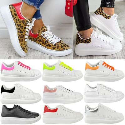 Womens White Alex Oversized Chunky Sneakers Rubber Sole Trainers New Shoes Size