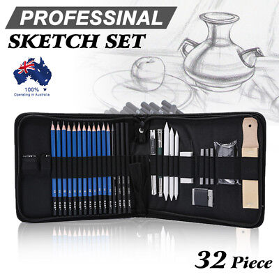 Drawing Pencils Art Supplies 32 Sketching Tools Set Charcoal Painting Kit