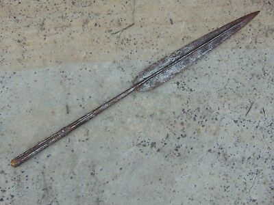 ANTIQUE 19th C HAND FORGED TRIBAL CONGO / MALI / INDO PERSIAN JARID SPEAR HEAD