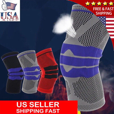 2x Men Sports High Compression Silicone Padded Knee Support Sleeve Nylon & Brace