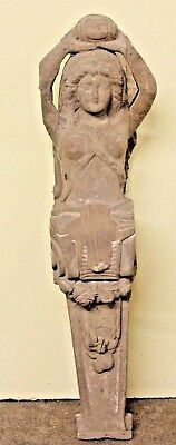 """Beautiful 41"""" Hand Carved Wooden Egyptian Nude Female Gothic Sculpture Carving"""