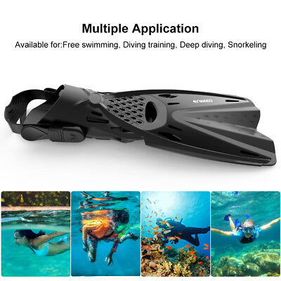 1 Pair Enkeeo Snorkel Fins Short Blade Sports Swimming Train Foot Filppers