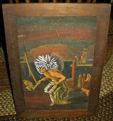 ANTIQUE c. 1890 HIDATSA SIOUX DOG DANCE PAINTING AFTER KARL BODMER 1834 vafo