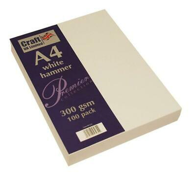 Craft UK A4 Card Ivory White Hammered Linen Smooth 100 to 500 sheets 300gsm