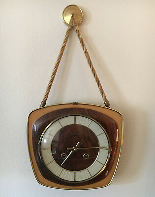 mid century ZentRa clock Wall WORK chime wind hanging Brass Germany retro ATOMIC
